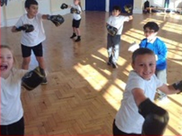 Children warming up in Boxing club
