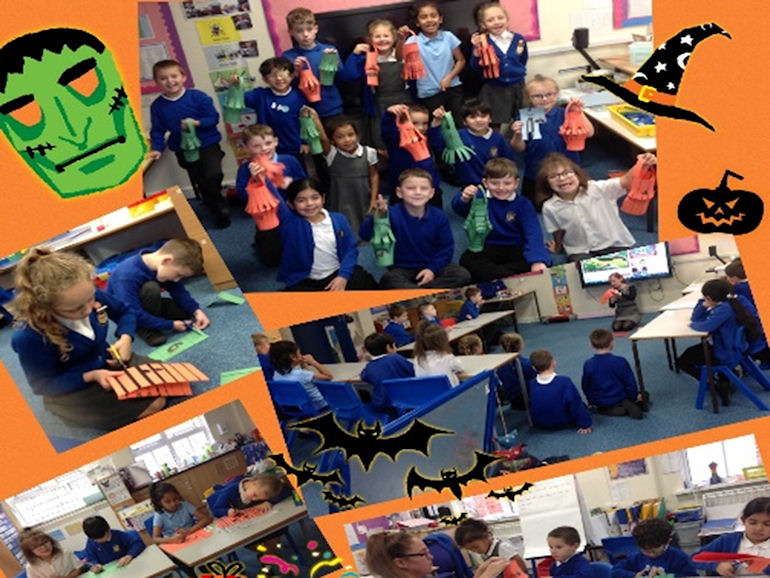 A collage of creative work on the theme of halloween