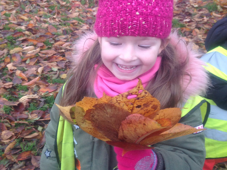 A girl with a collection of leaves